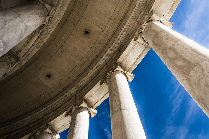 Looking up at columns at the Thomas Jefferson Memorial, Washington, DC.-1