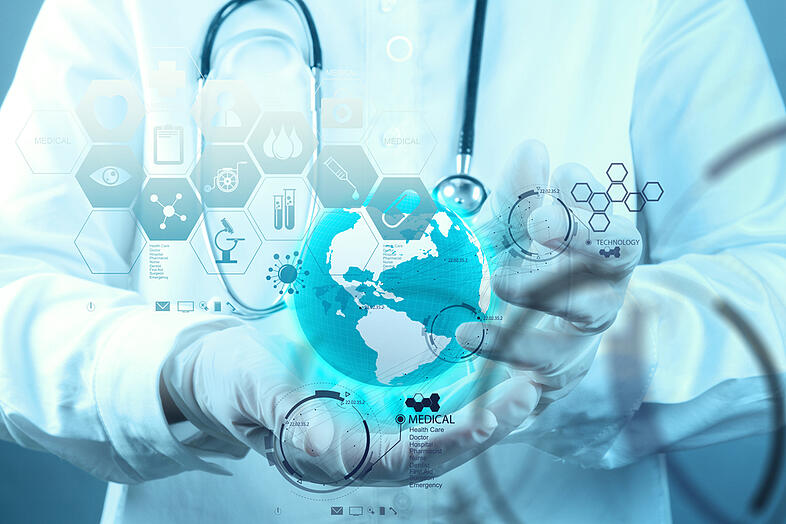 Medicine doctor hand working with modern computer interface as medical concept-1